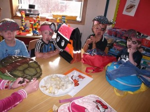 A motley crew tasting some of the school grown and cooked produce!