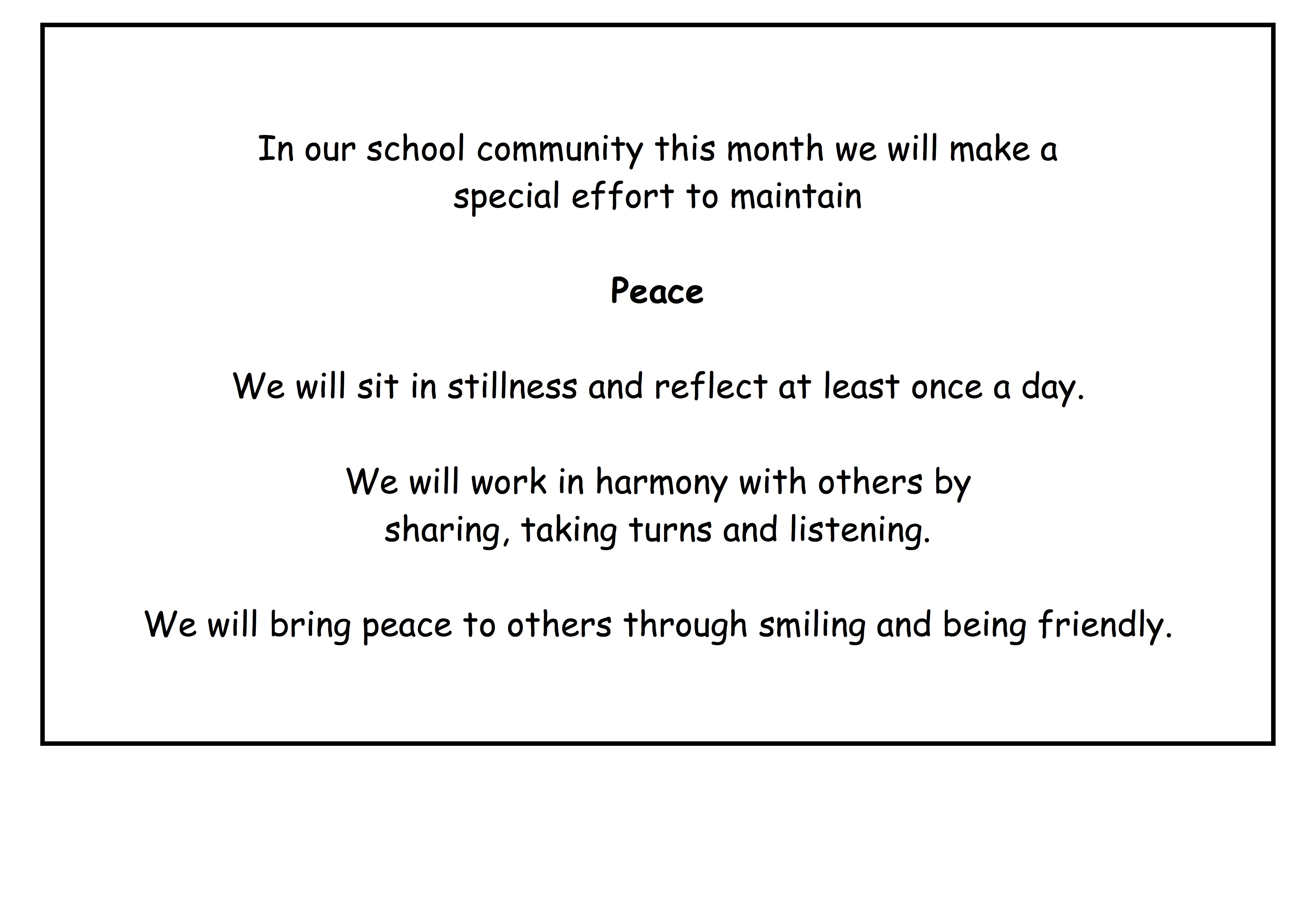 Peace is our Value of the Month